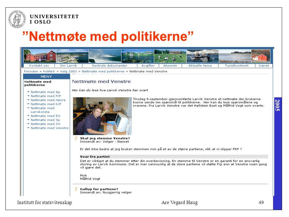 2005 Are Vegard Haug49Institutt for statsvitenskap Nettmøte med politikerne