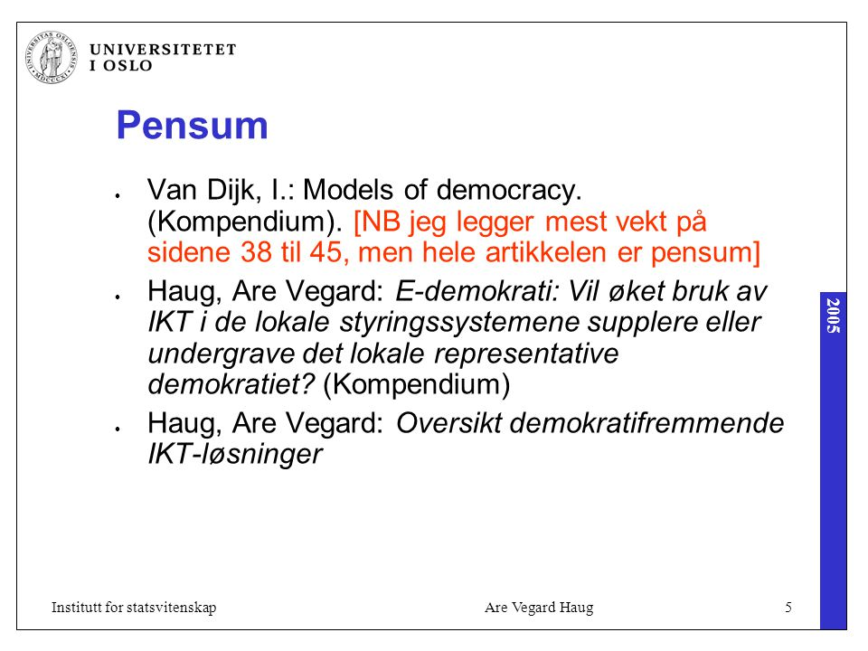 2005 Are Vegard Haug5Institutt for statsvitenskap Pensum Van Dijk, I.: Models of democracy.