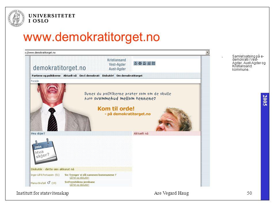 2005 Are Vegard Haug50Institutt for statsvitenskap www.demokratitorget.no Samlet satsing på e- demokrati i Vest- Agder, Aust-Agder og Kristiansand kommune.
