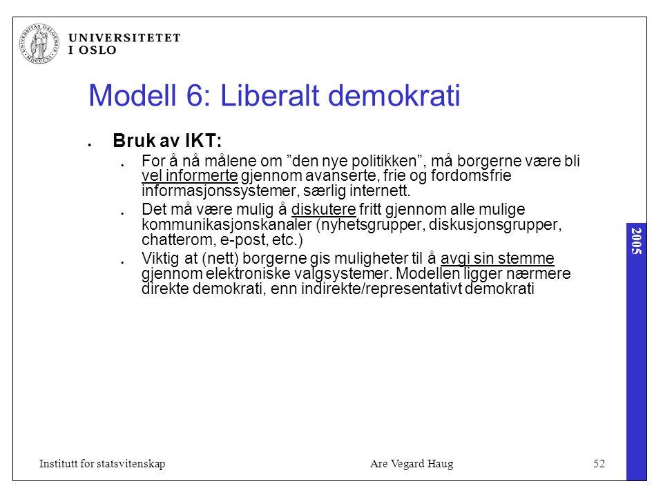 2005 Are Vegard Haug52Institutt for statsvitenskap Modell 6: Liberalt demokrati Bruk av IKT: For å nå målene om den nye politikken , må borgerne være bli vel informerte gjennom avanserte, frie og fordomsfrie informasjonssystemer, særlig internett.