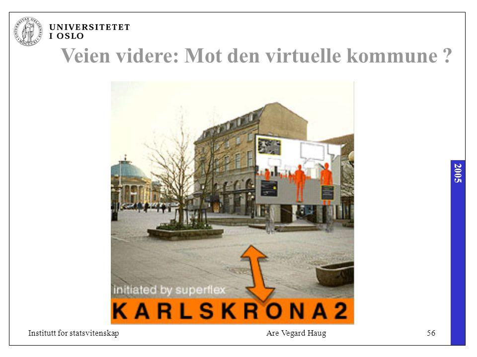 2005 Are Vegard Haug56Institutt for statsvitenskap Veien videre: Mot den virtuelle kommune ?
