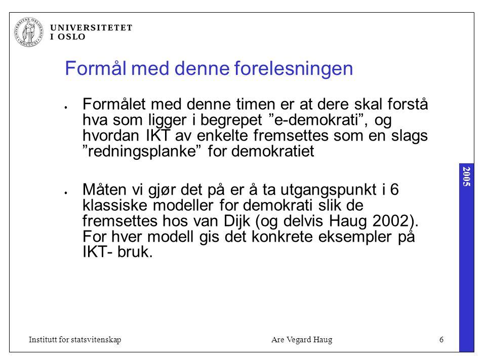 2005 Are Vegard Haug27Institutt for statsvitenskap Eksempel: Velgerkompass Velgerkompass er IKT- systemer som gjør det lettere for borgeren å finne ut hva han eller hun skal stemme ved valg.
