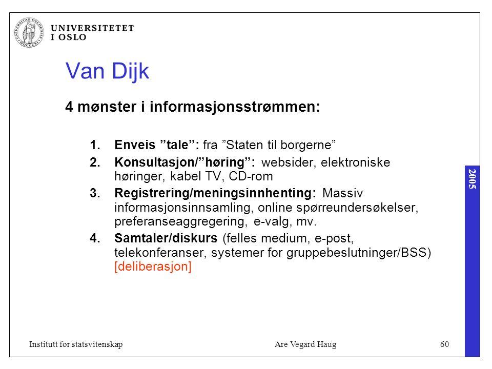 """2005 Are Vegard Haug60Institutt for statsvitenskap Van Dijk 4 mønster i informasjonsstrømmen: 1.Enveis """"tale"""": fra """"Staten til borgerne"""" 2.Konsultasjo"""