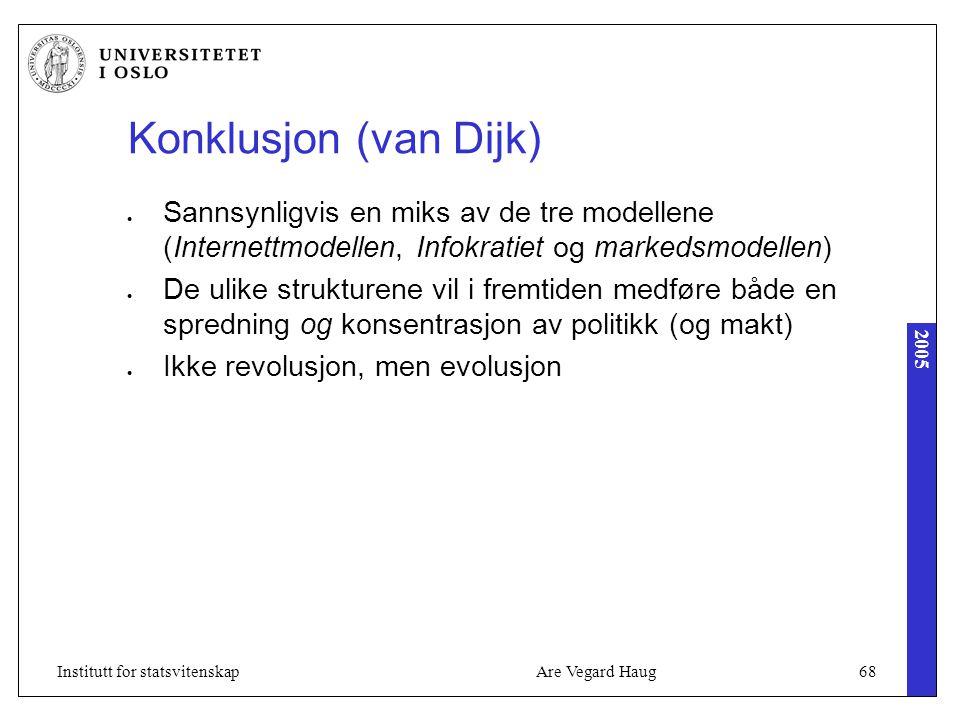 2005 Are Vegard Haug68Institutt for statsvitenskap Konklusjon (van Dijk) Sannsynligvis en miks av de tre modellene (Internettmodellen, Infokratiet og