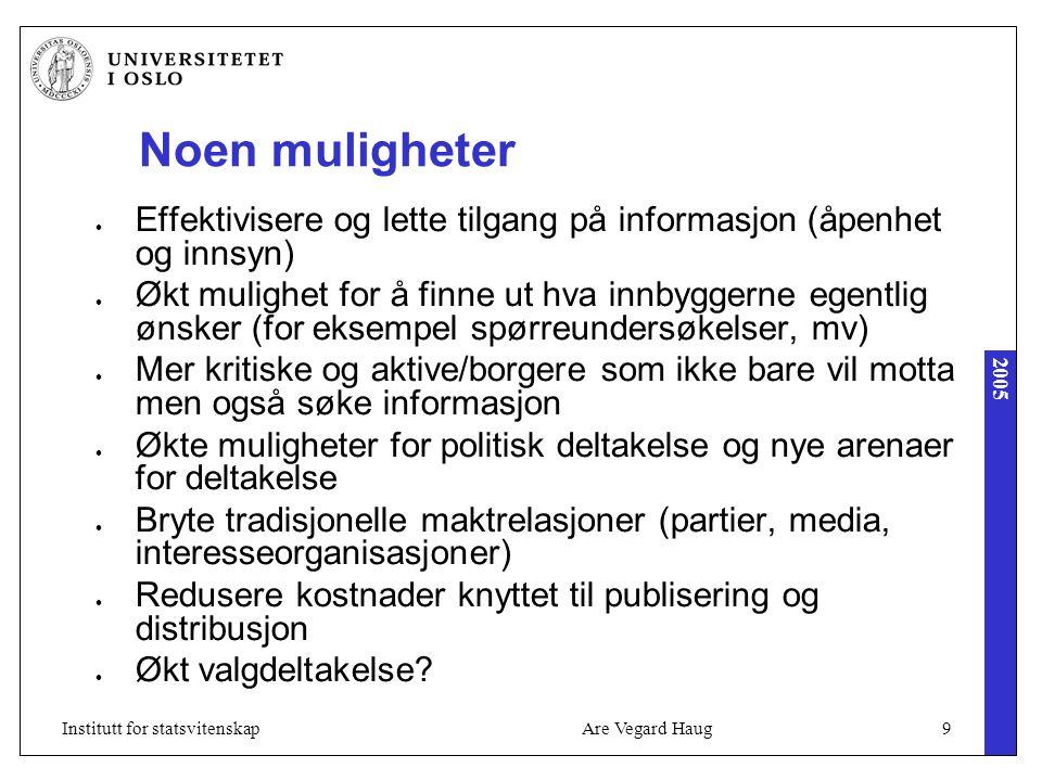 2005 Are Vegard Haug9Institutt for statsvitenskap Noen muligheter Effektivisere og lette tilgang på informasjon (åpenhet og innsyn) Økt mulighet for å