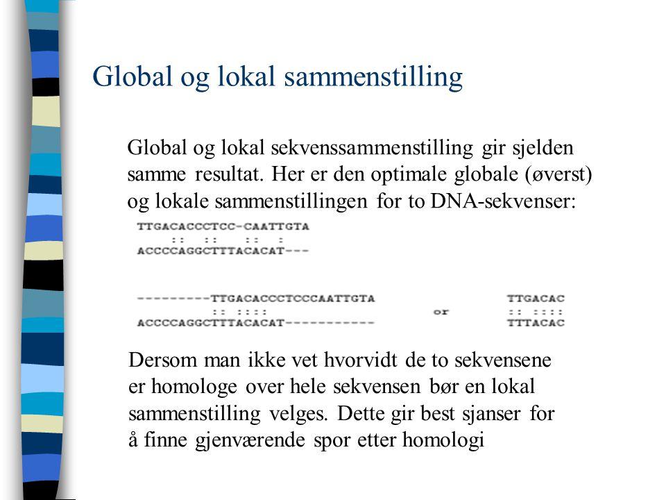 Global og lokal sammenstilling Global og lokal sekvenssammenstilling gir sjelden samme resultat.
