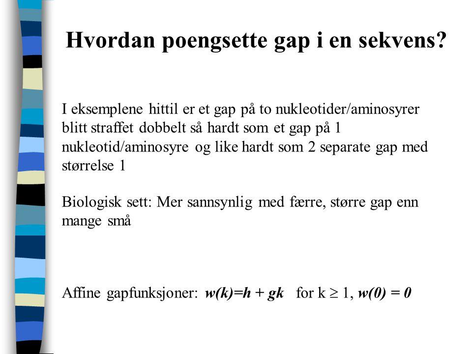 Hvordan poengsette gap i en sekvens.