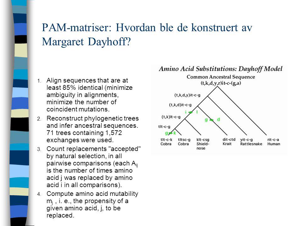 PAM-matriser: Hvordan ble de konstruert av Margaret Dayhoff.