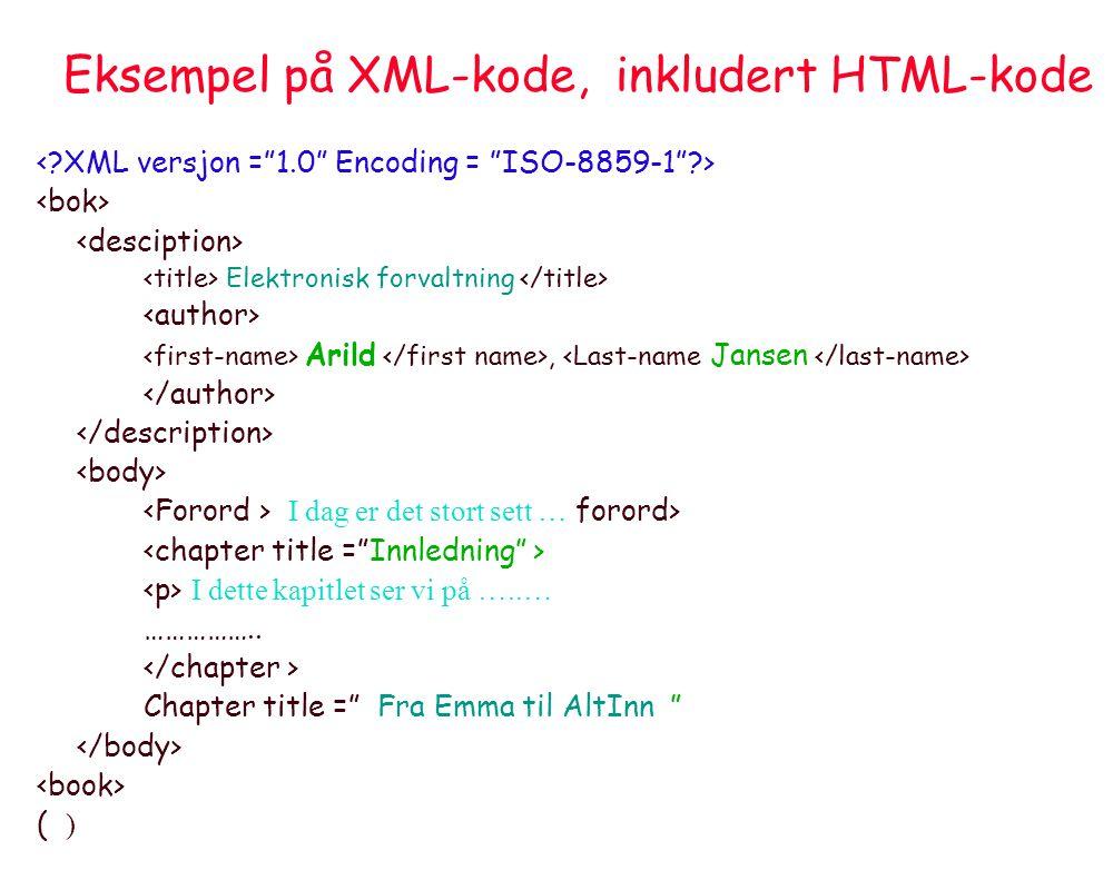 Eksempel på XML-kode, inkludert HTML-kode Elektronisk forvaltning Arild, I dag er det stort sett … forord> I dette kapitlet ser vi på …..… …………….. Cha