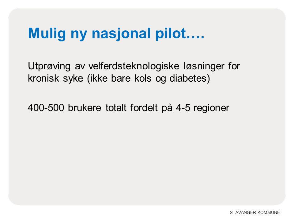STAVANGER KOMMUNE Mulig ny nasjonal pilot…. Utprøving av velferdsteknologiske løsninger for kronisk syke (ikke bare kols og diabetes) 400-500 brukere