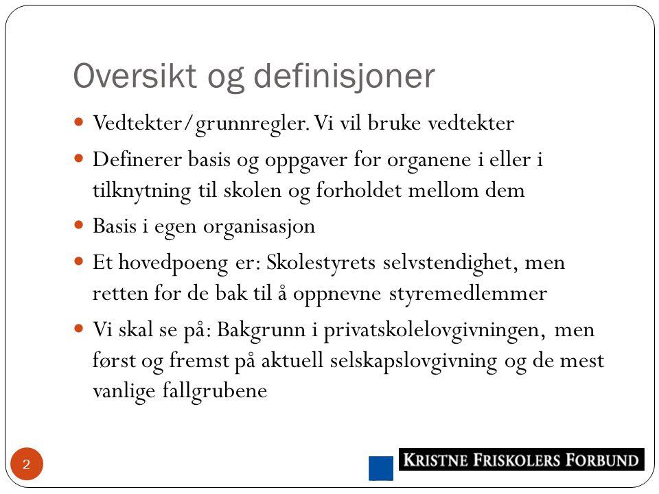 Oversikt og definisjoner 2 Vedtekter/grunnregler.