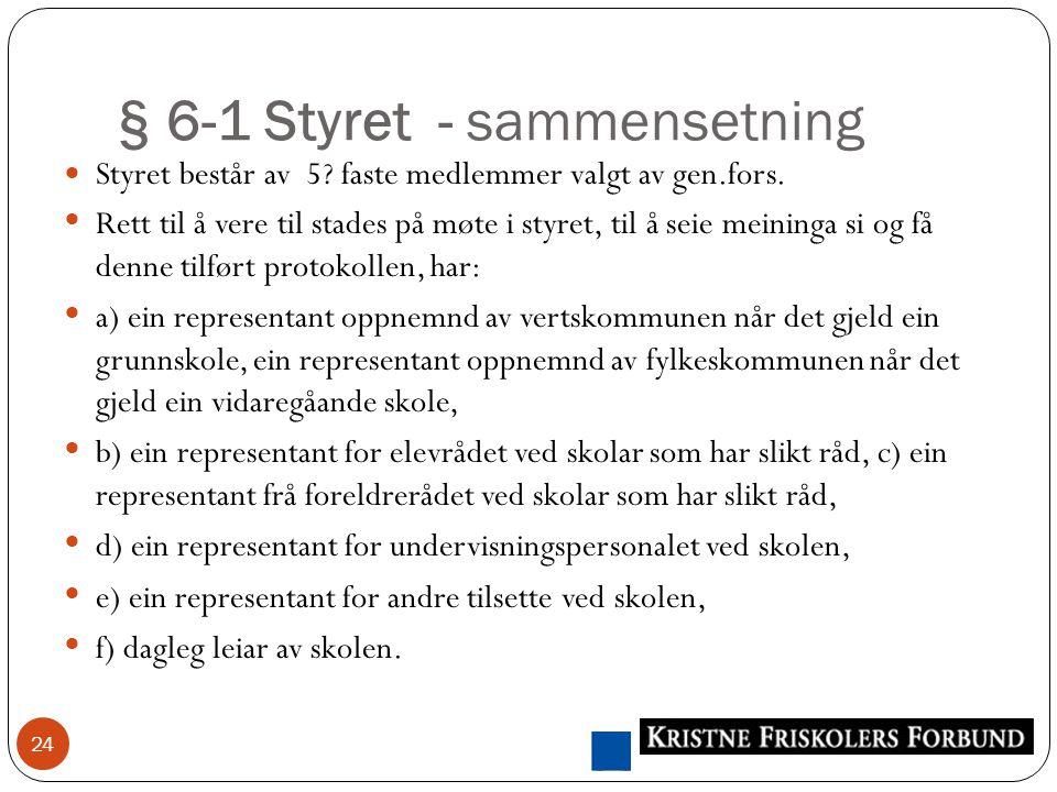 § 6-1 Styret - sammensetning 24 Styret består av 5.