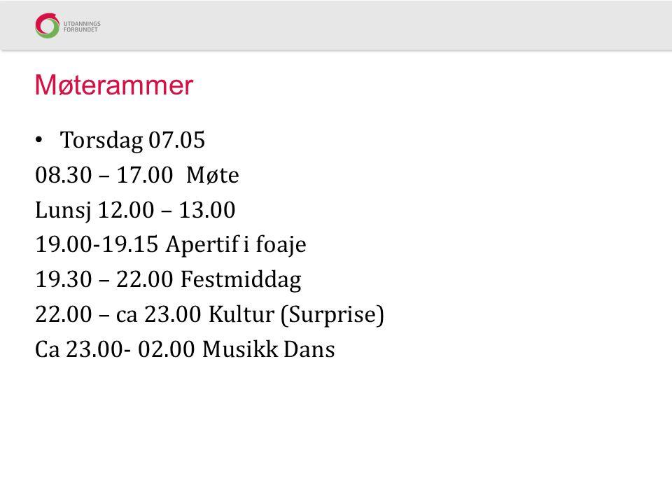 Møterammer Torsdag 07.05 08.30 – 17.00 Møte Lunsj 12.00 – 13.00 19.00-19.15 Apertif i foaje 19.30 – 22.00 Festmiddag 22.00 – ca 23.00 Kultur (Surprise) Ca 23.00- 02.00 Musikk Dans