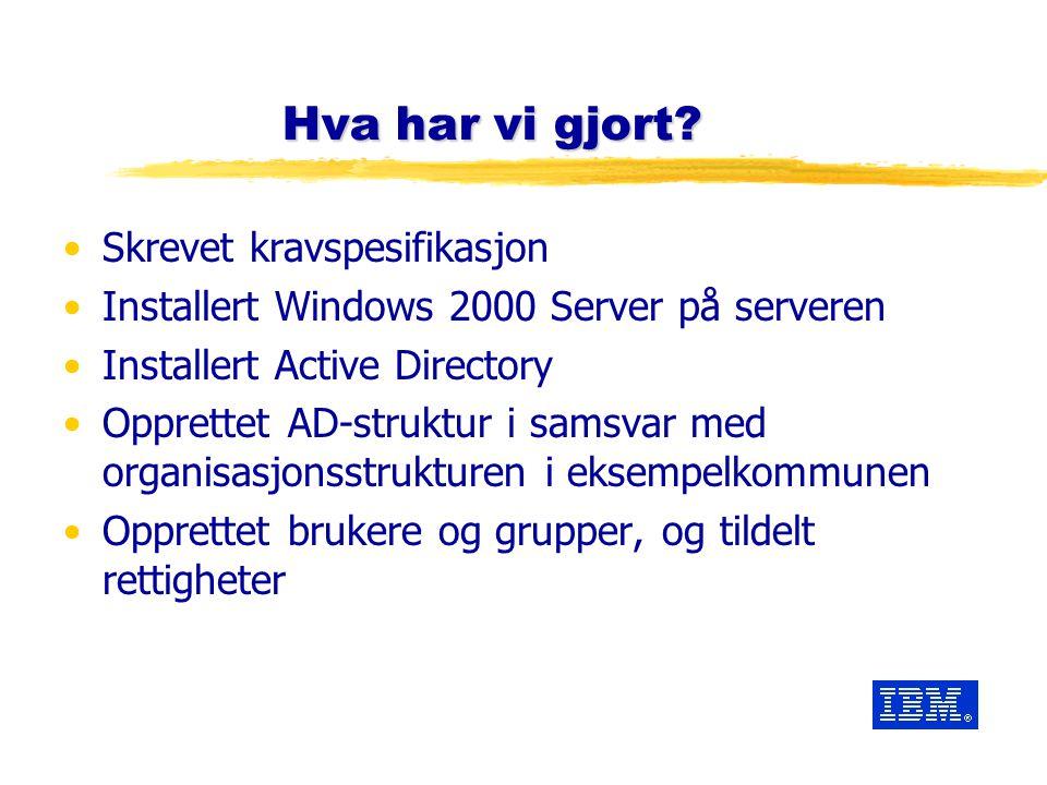 Hva har vi gjort? Skrevet kravspesifikasjon Installert Windows 2000 Server på serveren Installert Active Directory Opprettet AD-struktur i samsvar med