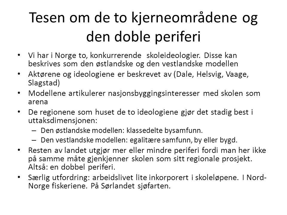 Tesen om de to kjerneområdene og den doble periferi Vi har i Norge to, konkurrerende skoleideologier. Disse kan beskrives som den østlandske og den ve