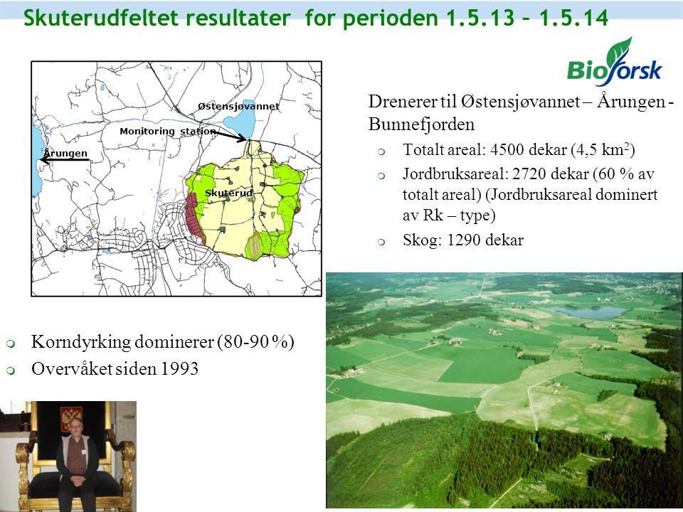 Skuterudfeltet resultater for perioden 1.5.13 – 1.5.14  Drenerer til Østensjøvannet – Årungen - Bunnefjorden  Totalt areal: 4500 dekar (4,5 km 2 ) 