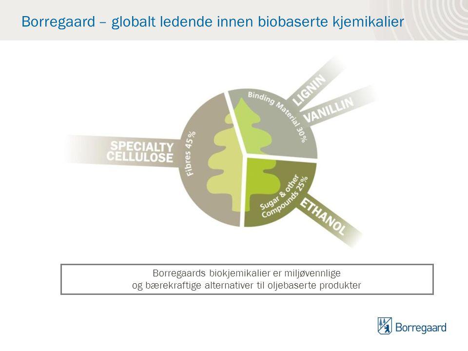 Borregaard – globalt ledende innen biobaserte kjemikalier Borregaards biokjemikalier er miljøvennlige og bærekraftige alternativer til oljebaserte pro