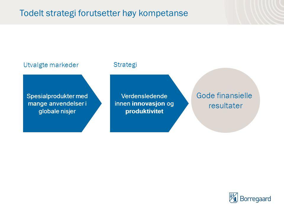 Todelt strategi forutsetter høy kompetanse Gode finansielle resultater Utvalgte markeder Strategi Spesialprodukter med mange anvendelser i globale nis