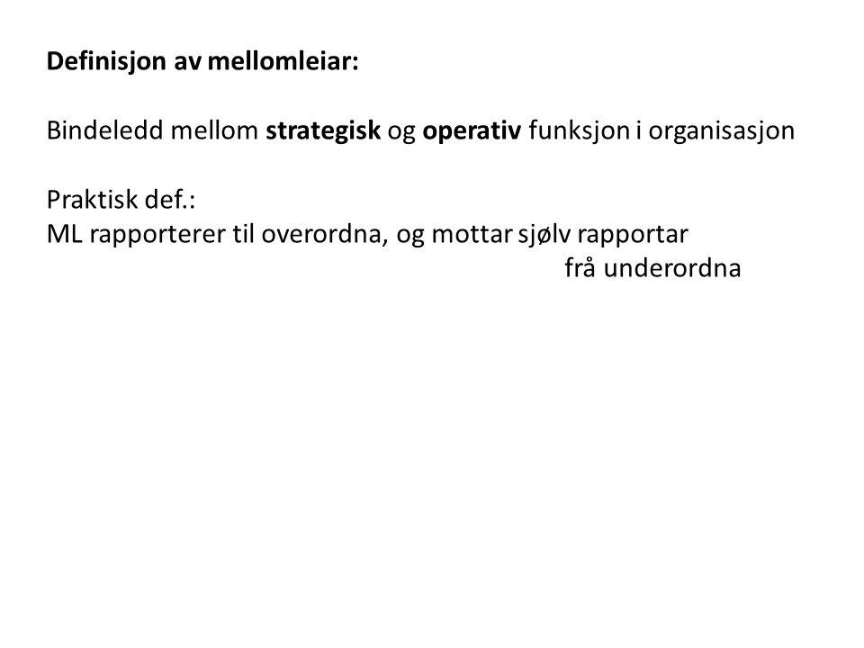Definisjon av mellomleiar: Bindeledd mellom strategisk og operativ funksjon i organisasjon Praktisk def.: ML rapporterer til overordna, og mottar sjølv rapportar frå underordna To analytiske perspektiv: A: Prinsipal-agent: Mellomleiaren som informasjons- og kontrollproblem B: Leiarskap: Mellomleiaren som motivasjons- og kompetanseproblem Prosjektet mest orientert mot B, litt A