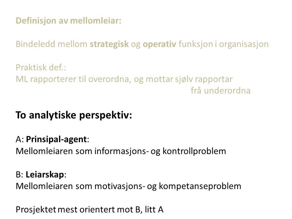 LEIARNIVÅ KOMPETANSEKRAV FaglegeRelasjonelleKonseptuelle ToppleiarLågHøg MellomleiarHøg LinjeleiarHøg Låg «Managerial skills*»: Mellomleiar – krevande jobb (Katz 1955)