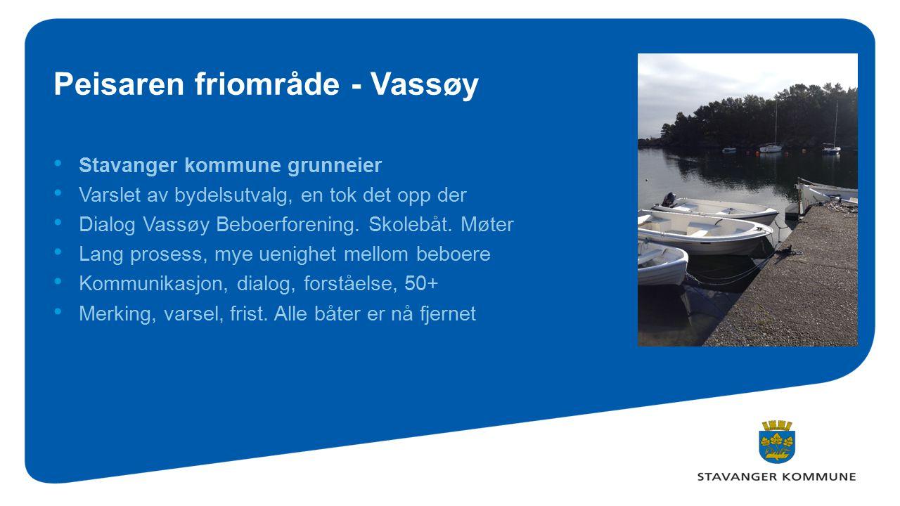 Peisaren friområde - Vassøy Stavanger kommune grunneier Varslet av bydelsutvalg, en tok det opp der Dialog Vassøy Beboerforening. Skolebåt. Møter Lang