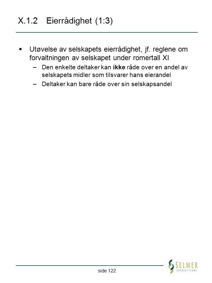 side 122 X.1.2Eierrådighet (1:3)  Utøvelse av selskapets eierrådighet, jf. reglene om forvaltningen av selskapet under romertall XI –Den enkelte delt