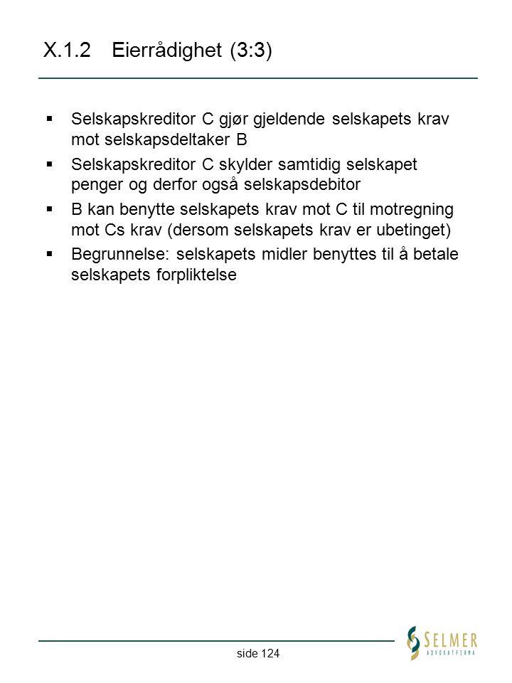 side 124 X.1.2Eierrådighet (3:3)  Selskapskreditor C gjør gjeldende selskapets krav mot selskapsdeltaker B  Selskapskreditor C skylder samtidig sels