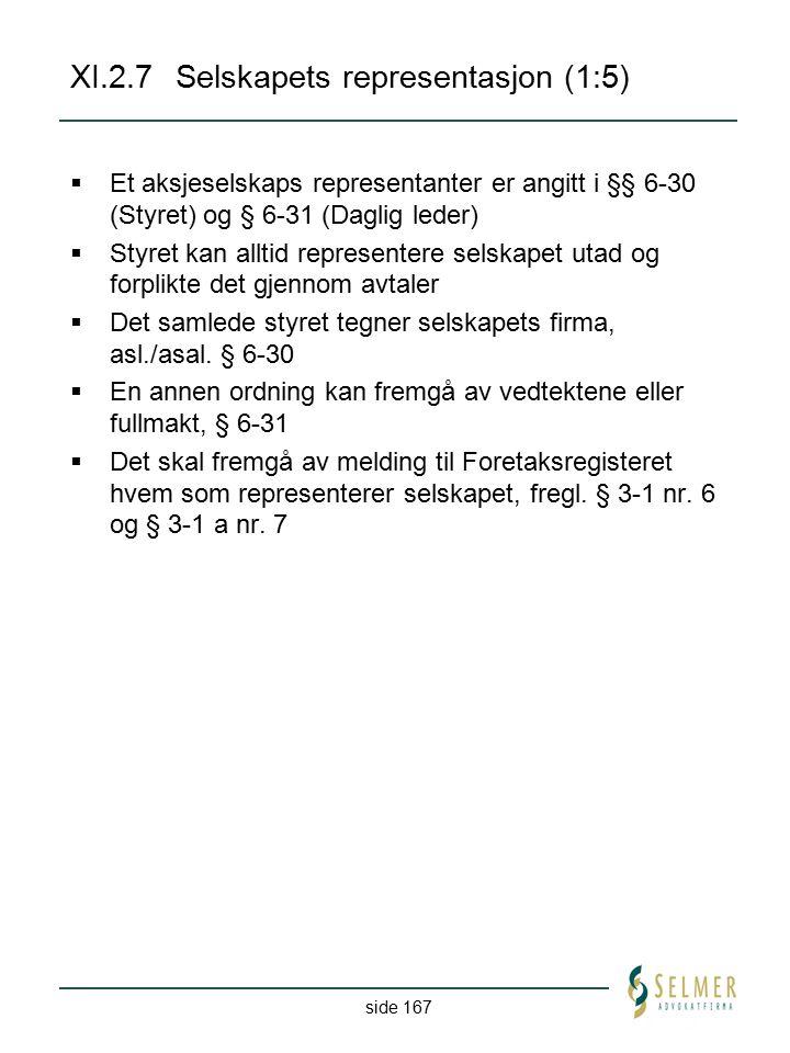 side 167 XI.2.7Selskapets representasjon (1:5)  Et aksjeselskaps representanter er angitt i §§ 6-30 (Styret) og § 6-31 (Daglig leder)  Styret kan al