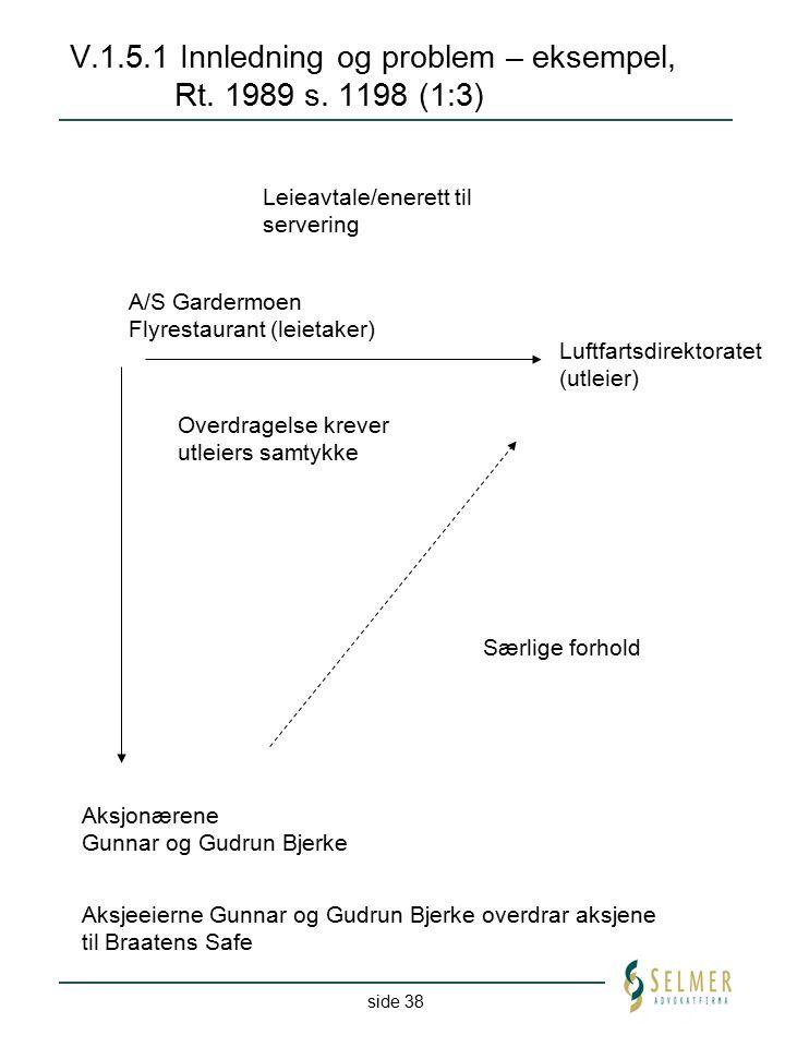 side 38 V.1.5.1 Innledning og problem – eksempel, Rt. 1989 s. 1198 (1:3) Leieavtale/enerett til servering Aksjeeierne Gunnar og Gudrun Bjerke overdrar