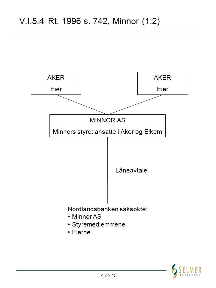 side 45 V.I.5.4Rt. 1996 s. 742, Minnor (1:2) AKER Eier AKER Eier MINNOR AS Minnors styre: ansatte i Aker og Elkem Nordlandsbanken saksøkte: Minnor AS