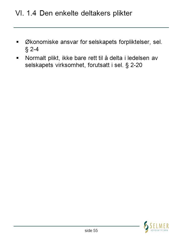 side 55 VI. 1.4Den enkelte deltakers plikter  Økonomiske ansvar for selskapets forpliktelser, sel. § 2-4  Normalt plikt, ikke bare rett til å delta
