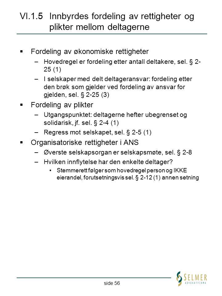 side 56 VI.1.5Innbyrdes fordeling av rettigheter og plikter mellom deltagerne  Fordeling av økonomiske rettigheter –Hovedregel er fordeling etter ant
