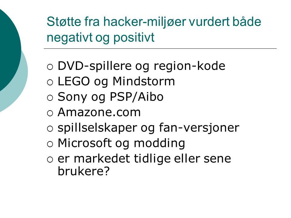 Støtte fra hacker-miljøer vurdert både negativt og positivt  DVD-spillere og region-kode  LEGO og Mindstorm  Sony og PSP/Aibo  Amazone.com  spillselskaper og fan-versjoner  Microsoft og modding  er markedet tidlige eller sene brukere