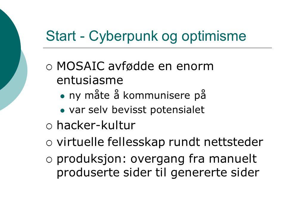 Start - Cyberpunk og optimisme  MOSAIC avfødde en enorm entusiasme ny måte å kommunisere på var selv bevisst potensialet  hacker-kultur  virtuelle fellesskap rundt nettsteder  produksjon: overgang fra manuelt produserte sider til genererte sider