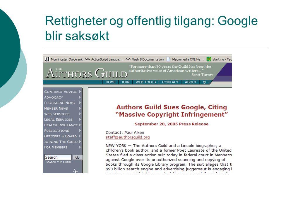 Rettigheter og offentlig tilgang: Google blir saksøkt