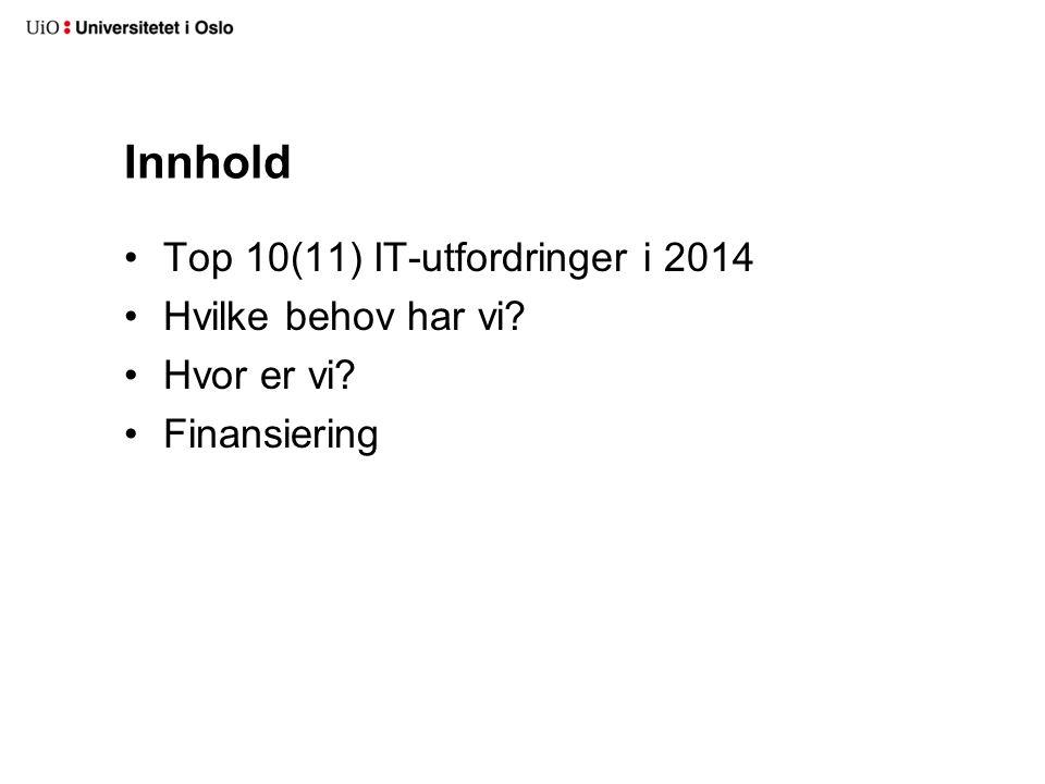 Innhold Top 10(11) IT-utfordringer i 2014 Hvilke behov har vi Hvor er vi Finansiering