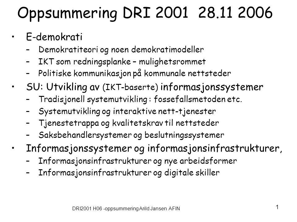 DRI2001 H06 -oppsummering Arild Jansen AFIN 1 Oppsummering DRI 2001 28.11 2006 E-demokrati –Demokratiteori og noen demokratimodeller –IKT som rednings