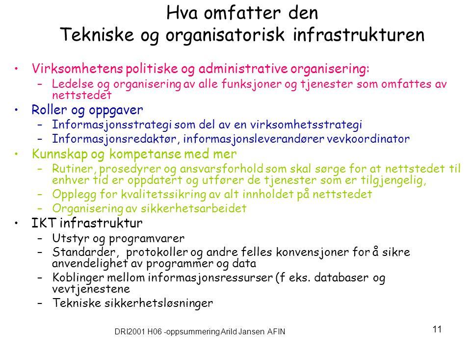 DRI2001 H06 -oppsummering Arild Jansen AFIN 11 Hva omfatter den Tekniske og organisatorisk infrastrukturen Virksomhetens politiske og administrative o