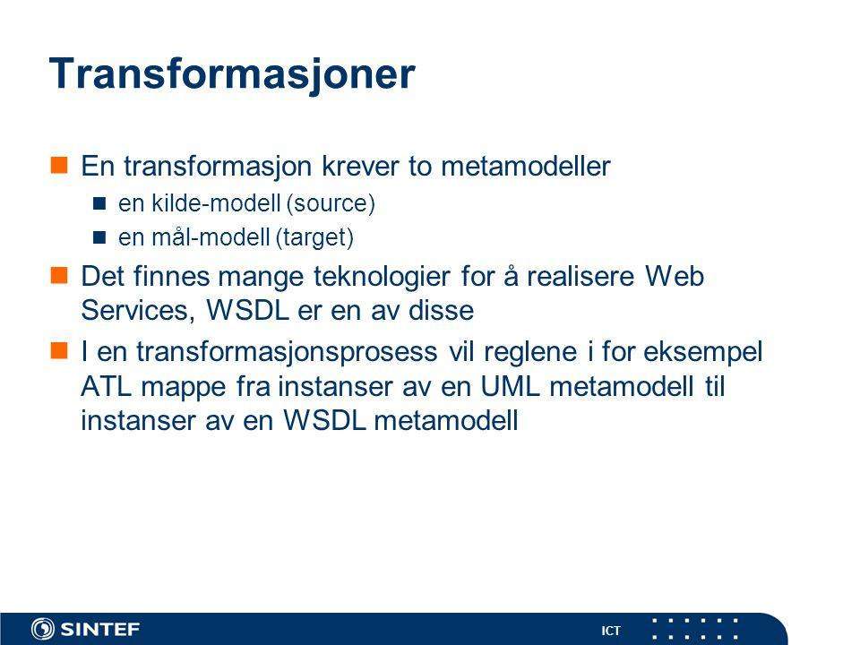 ICT Transformasjoner En transformasjon krever to metamodeller en kilde-modell (source) en mål-modell (target) Det finnes mange teknologier for å realisere Web Services, WSDL er en av disse I en transformasjonsprosess vil reglene i for eksempel ATL mappe fra instanser av en UML metamodell til instanser av en WSDL metamodell