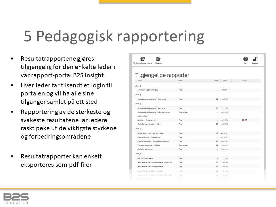 5 Pedagogisk rapportering Resultatrapportene gjøres tilgjengelig for den enkelte leder i vår rapport-portal B2S Insight Hver leder får tilsendt et log