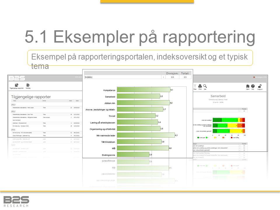 5.1 Eksempler på rapportering Eksempel på rapporteringsportalen, indeksoversikt og et typisk tema
