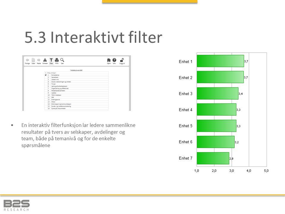 5.3 Interaktivt filter En interaktiv filterfunksjon lar ledere sammenlikne resultater på tvers av selskaper, avdelinger og team, både på temanivå og for de enkelte spørsmålene Enhet 1 Enhet 3 Enhet 4 Enhet 5 Enhet 6 Enhet 7 Enhet 2