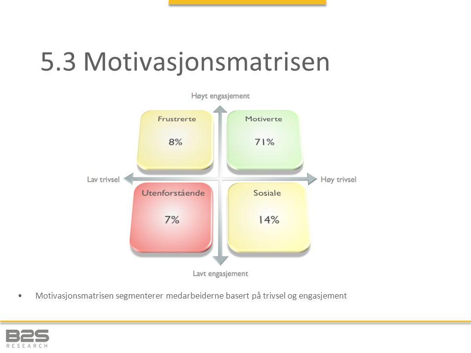 5.3 Motivasjonsmatrisen Motivasjonsmatrisen segmenterer medarbeiderne basert på trivsel og engasjement