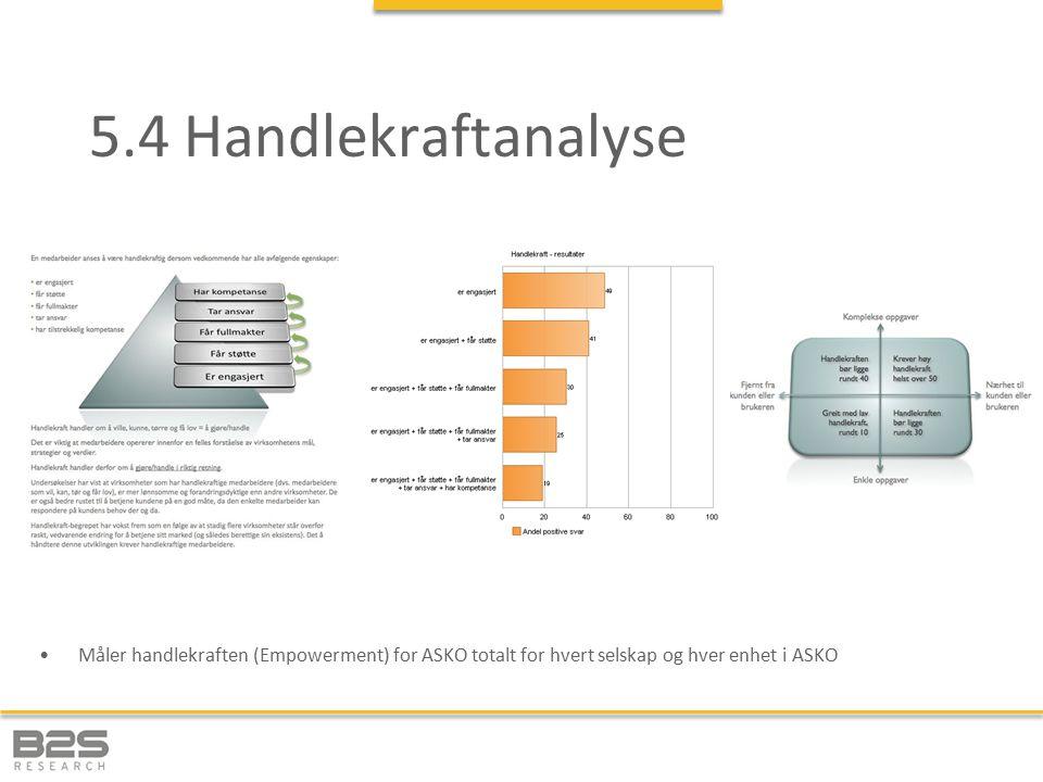 5.4 Handlekraftanalyse Måler handlekraften (Empowerment) for ASKO totalt for hvert selskap og hver enhet i ASKO