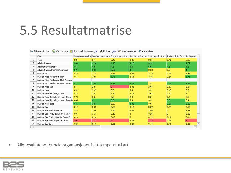 5.5 Resultatmatrise Alle resultatene for hele organisasjonen i ett temperaturkart