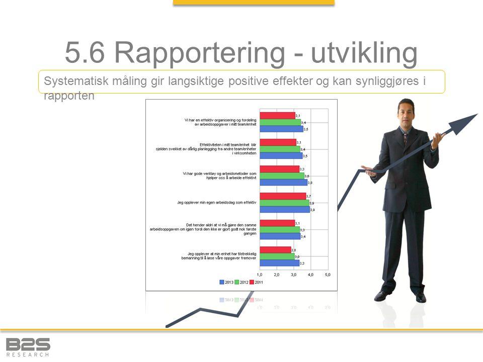 5.6 Rapportering - utvikling Systematisk måling gir langsiktige positive effekter og kan synliggjøres i rapporten