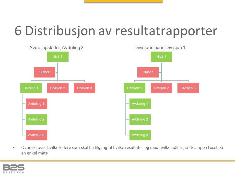 6 Distribusjon av resultatrapporter Oversikt over hvilke ledere som skal ha tilgang til hvilke resultater og med hvilke nøkler, settes opp i Excel på en enkel måte Nivå 1 Divisjon 1 Avdeling 1 Avdeling 2 Avdeling 3 Divisjon 2Divisjon 3 Staber Nivå 1 Divisjon 1 Avdeling 1 Avdeling 2 Avdeling 3 Divisjon 2Divisjon 3 Staber Avdelingsleder, Avdeling 2Divisjonsleder, Divisjon 1