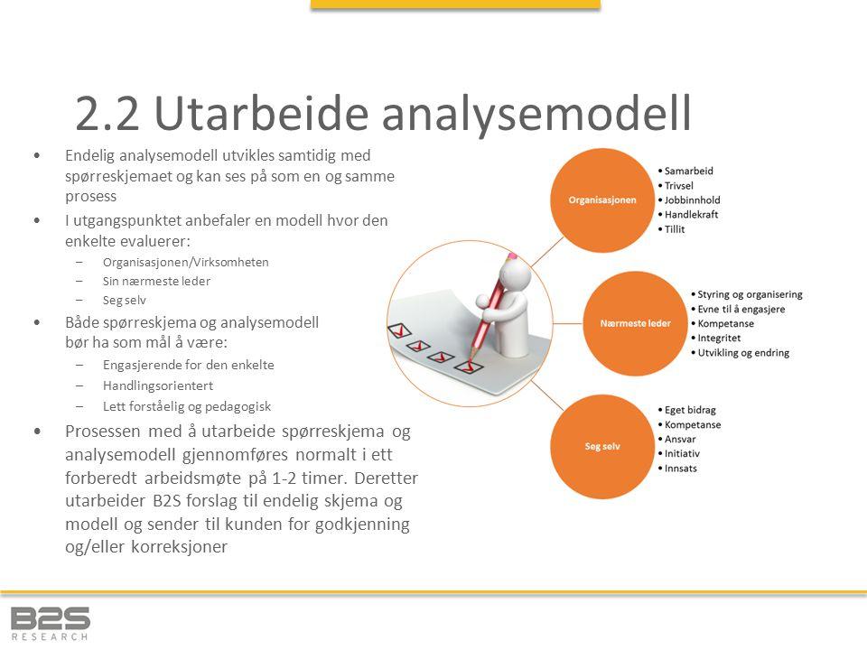 2.2 Utarbeide analysemodell Endelig analysemodell utvikles samtidig med spørreskjemaet og kan ses på som en og samme prosess I utgangspunktet anbefaler en modell hvor den enkelte evaluerer: –Organisasjonen/Virksomheten –Sin nærmeste leder –Seg selv Både spørreskjema og analysemodell bør ha som mål å være: –Engasjerende for den enkelte –Handlingsorientert –Lett forståelig og pedagogisk Prosessen med å utarbeide spørreskjema og analysemodell gjennomføres normalt i ett forberedt arbeidsmøte på 1-2 timer.