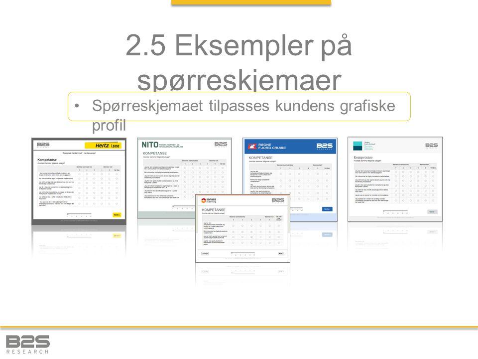 2.5 Eksempler på spørreskjemaer Spørreskjemaet tilpasses kundens grafiske profil
