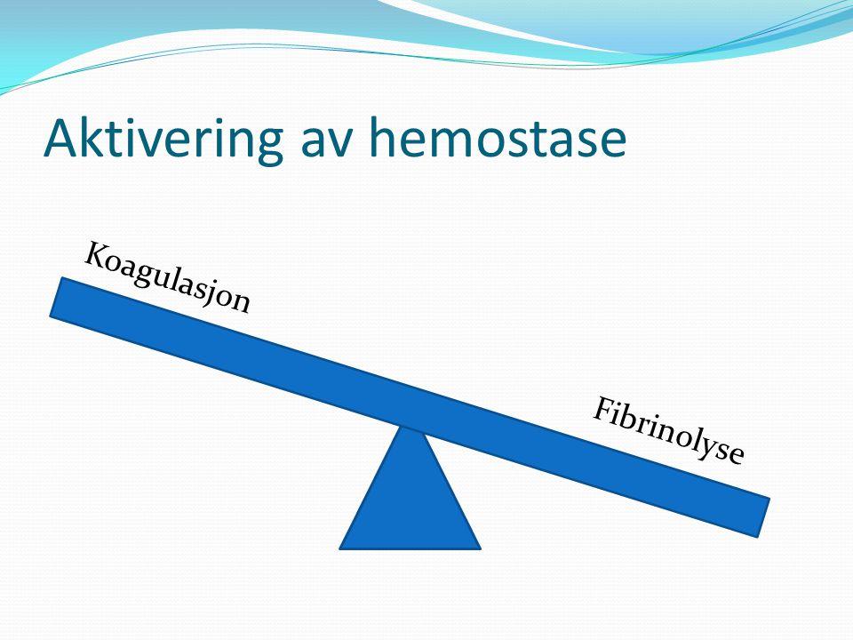 Aktivering av hemostase Koagulasjon Fibrinolyse